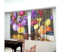 Фотошторы для кухни Букет Цветов (габардин)