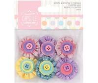 Мини цветы декоративные из ткани Spots & Stripes Pastels