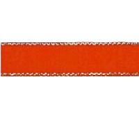 Лента атласная SAFISA с люрексным кантом по краям, 7 мм, 25 м, цвет 14, красный