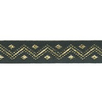 Лента PEGA с орнаментом зиг-заг золотистый люрекс, 11 мм