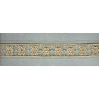 Вышивка на тюле, 43 мм, цвет бежевый