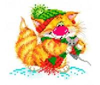 """Набор для вышивания бисер-ленты """"Без кота - жизнь не та! Вместе теплее"""""""