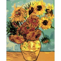 "Картина по номерам ""Ваза с двенадцатью подсолнухами. Ван Гог."""