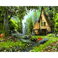 "Картина по номерам ""Домик в лесу"""