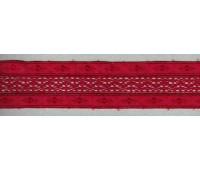 Шитьё с мерсеризованным кружевом, 50 мм, цвет бордово-красный