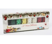 Набор с нитками Poly Sheen Metallic и Poly Sheen в подарочной новогодней упаковке, 8 катушек