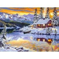 """Картина стразами """"Зимний домик у реки"""""""