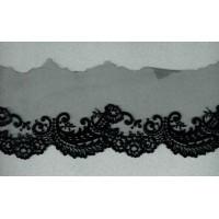 Вышивка на тюле, 90 мм, цвет черный