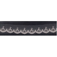 Вышивка на тюле, 30 мм, цвет серый