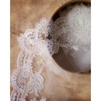 Вышивка на тюле, 160 мм, цвет молочно-белый
