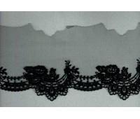 Вышивка на тюле, 105 мм, цвет черный