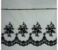 Вышивка на тюле, 136 мм, цвет черный