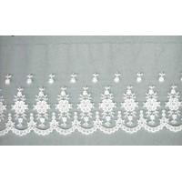 Вышивка на тюле, 110 мм, цвет белый