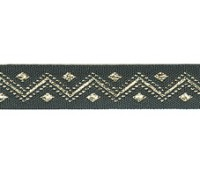 Лента PEGA с орнаментом зиг-заг серебристый люрекс, 11 мм