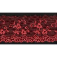 Вышивка на тюле, 25 мм, цвет бордовый