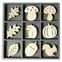 """Декоративные элементы из дерева в коробочке """"Ежик, белка"""""""