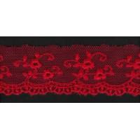 Вышивка на тюле, 25 мм, цвет красный