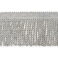 Бахрома вискозная с люрексом, 70 мм, цвет серебристый