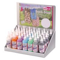 """Дисплей """"Краска текстильная с противоскользящим эффектом 3D """"Sock-Stop"""", 100 мл, 7 цветов"""