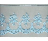 Вышивка на тюле, 136 мм, цвет светло-голубой