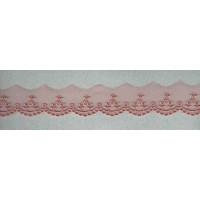 Вышивка на тюле, 30 мм, цвет пыльно-розовый