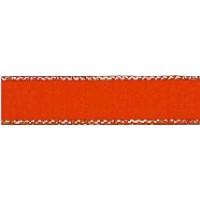 Лента атласная SAFISA с люрексным кантом по краям, 11 мм, 25 м, цвет 14, красный