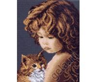 """Рисунок на канве """"Малышка с котенком"""""""