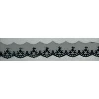 Вышивка на тюле, 30 мм, цвет черный