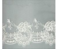 Вышивка на тюле, 160 мм, цвет белый