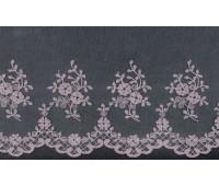 Вышивка на тюле, 136 мм, цвет серый