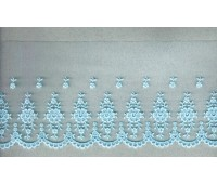 Вышивка на тюле, 110 мм, цвет светло-голубой