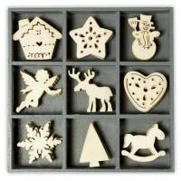 """Декоративные элементы из дерева в коробочке """"Рождественские элементы"""""""