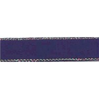 Лента атласная SAFISA с люрексным кантом по краям, 7 мм, 25 м, цвет 15, темно-синий