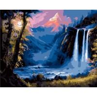 """Картина по номерам """"Водопад в лучах заката"""""""