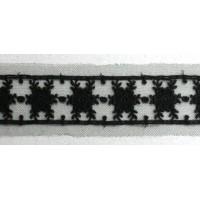 Вышивка на тюле, 43 мм, цвет черный