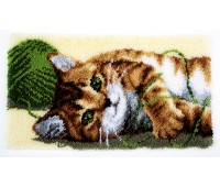 """Набор для вышивания коврика """"Играющий котенок"""""""