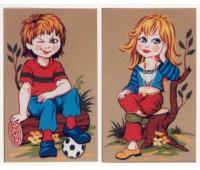 """Канва жесткая с рис. """"Девочка и мальчик с мячом"""""""
