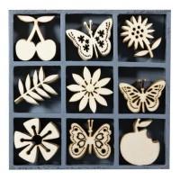 """Декоративные элементы из дерева в коробочке """"Фрукты и бабочки"""""""
