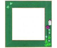 """Рамка деревянная """"Скворечники"""" цвет зеленый матовый с ручной росписью"""