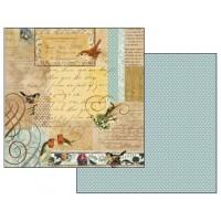 """Бумага двухсторонняя для скрапбукинга """"Письма и маленькие птицы"""""""