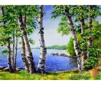 """Картина стразами """"Березы у озера"""""""
