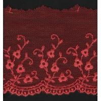 Вышивка на тюле, 50 мм, цвет бордовый