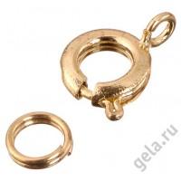 Замок круглый пружинный с кольцом (цена за 1шт,100 шт в упак.)