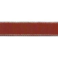 Лента атласная SAFISA с люрексным кантом по краям, 7 мм, 25 м, цвет 30, бордо