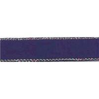Лента атласная SAFISA с люрексным кантом по краям, 11 мм, 25 м, цвет 15, темно-синий