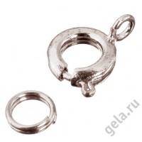 Замок круглый пружинный с кольцом (цена за блистер)
