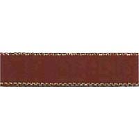 Лента атласная SAFISA с люрексным кантом по краям, 11 мм, 25 м, цвет 17, темно-коричневый