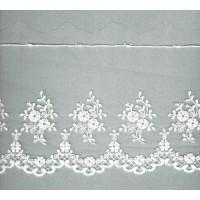 Вышивка на тюле, 136 мм, цвет белый