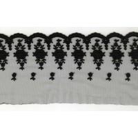 Вышивка на тюле, 110 мм, цвет черный
