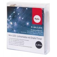 Гирлянда миниатюрная светодиодная с таймером, 20 мини-LED ламп